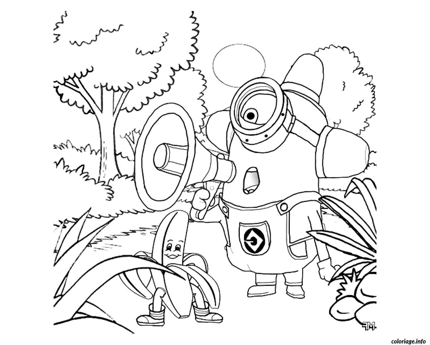 coloriage dessin minion dans la foret dessin imprimer - Dessin Minion