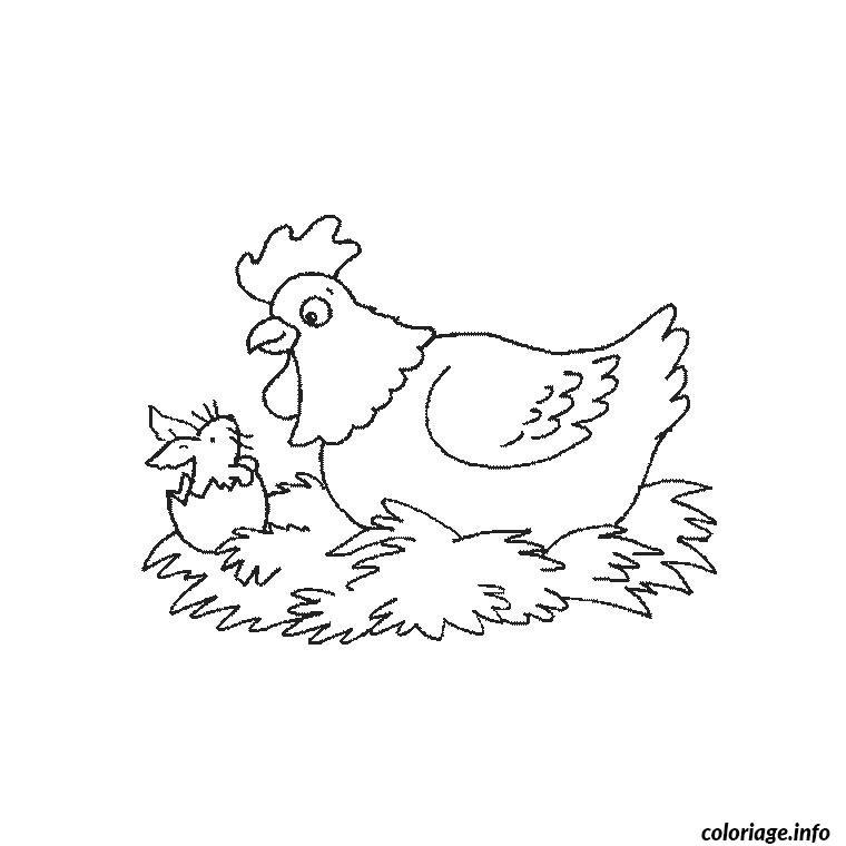 Coloriage paques oeuf de poule dessin - Poule a imprimer ...