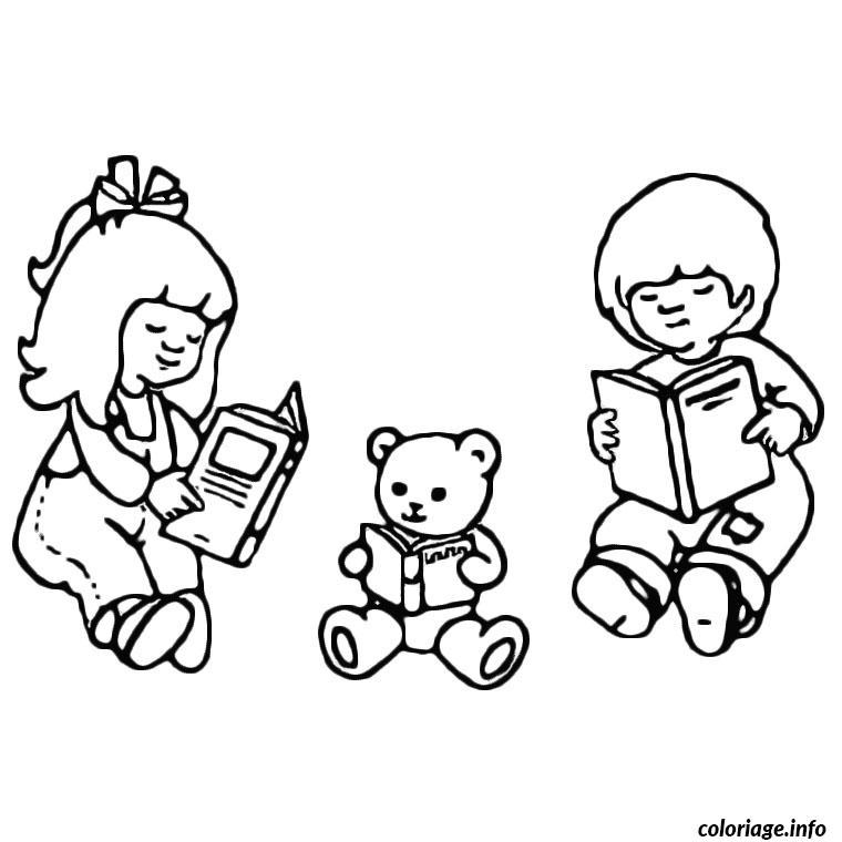 Coloriage Enfants Nounours Livres Jecolorie Com