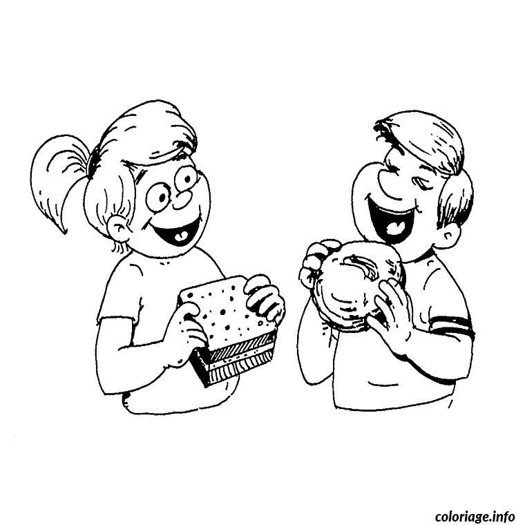 Coloriage Enfants Au Gouter dessin