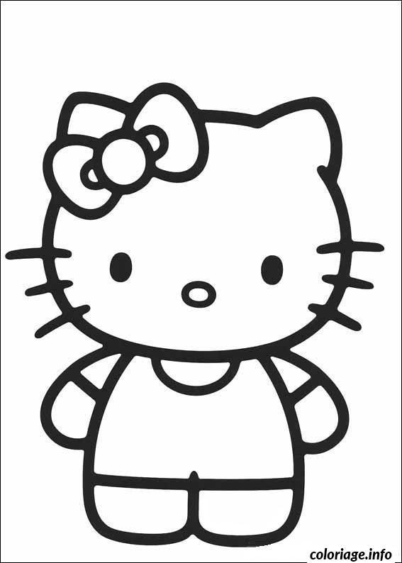 Coloriage Facile Hello Kitty.Coloriage Dessin Hello Kitty 23 Jecolorie Com