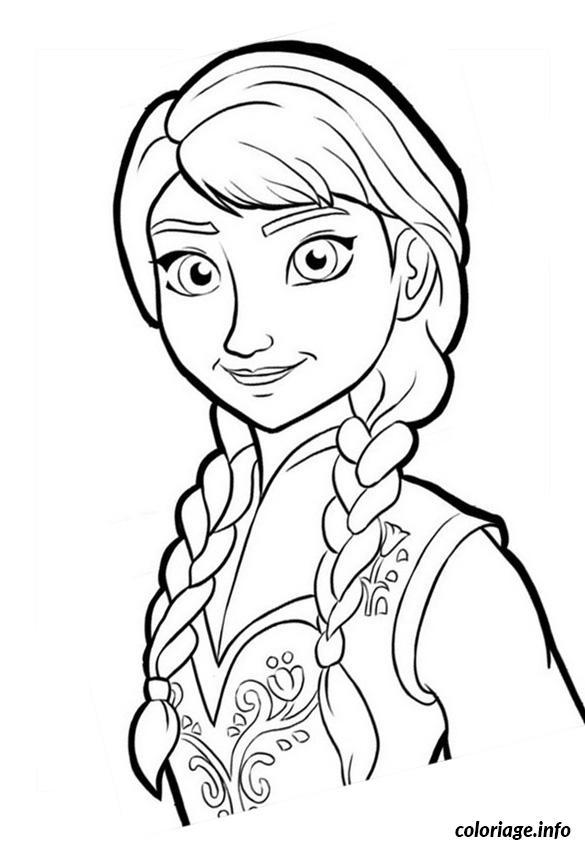 Dessin dessin reine neige disney anna portrait Coloriage Gratuit à Imprimer