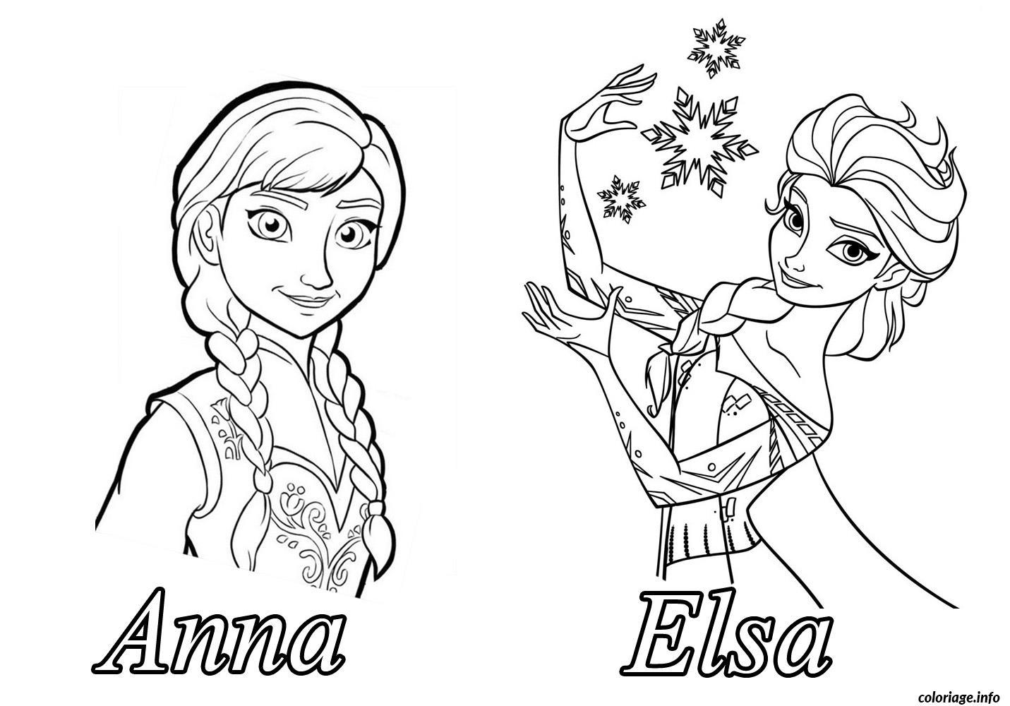 Coloriage reine des neiges anna elsa dessin - Coloriage princesse des neiges ...