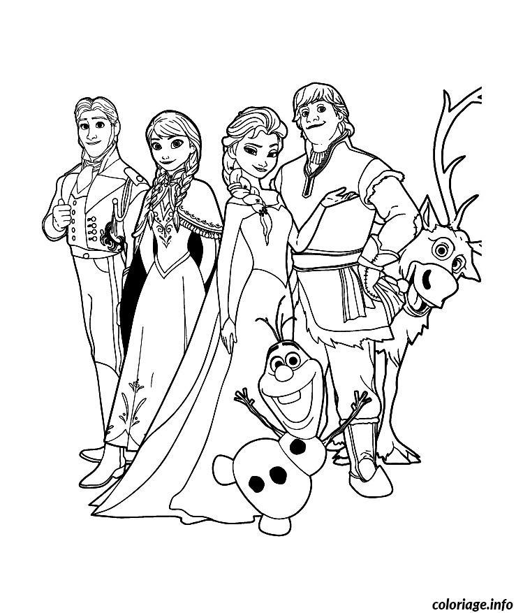 Coloriage reine neige disney cast dessin - Reine coloriage ...
