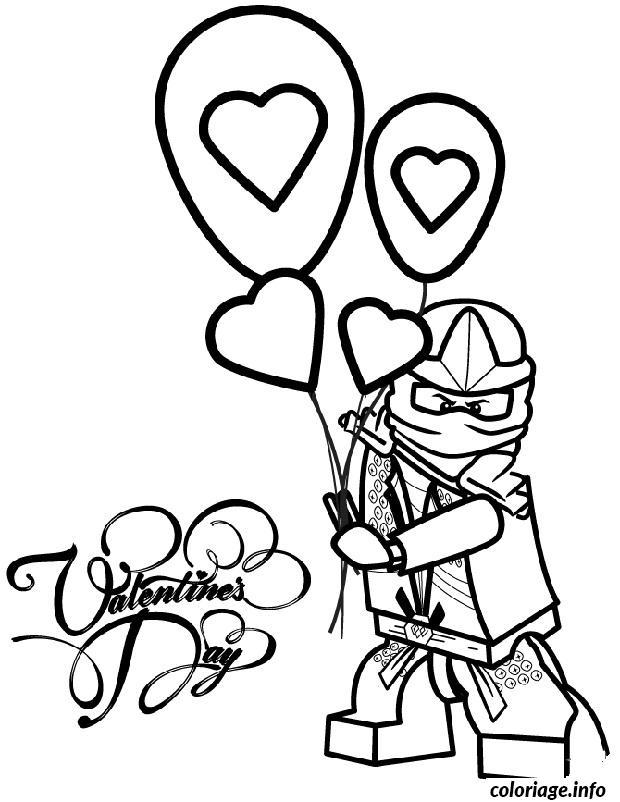 Coloriage Dessin Ninjago Lloyd Ballon Saint Valentin Dessin