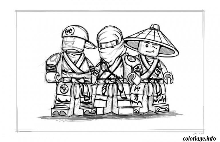 Dessin Ninjago equipe de trois portrait Coloriage Gratuit à Imprimer