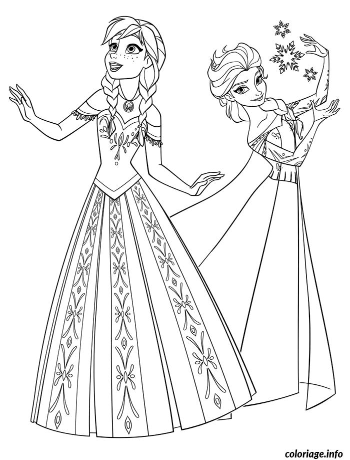 Coloriage Princesse A Imprimer Reine Des Neiges.Coloriage Reine Des Neiges Anna Et Elsa Princesse Jecolorie Com