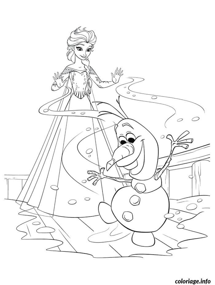Dessin reine des neiges avec olaf qui a froid Coloriage Gratuit à Imprimer