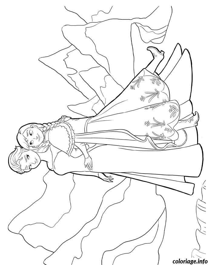 Coloriage Reine Des Neiges Anna Et Elsa Dans Les Montagnes