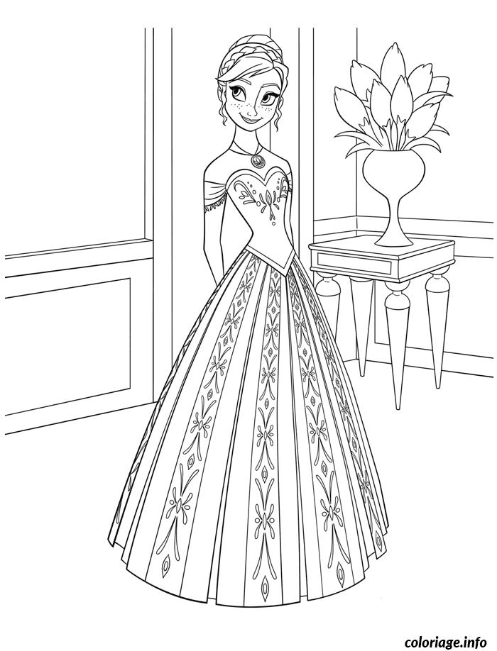 Dessin reine des neiges elsa disney belle robe Coloriage Gratuit à Imprimer
