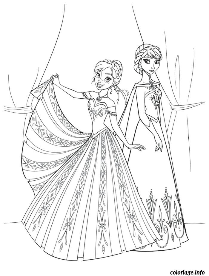 Dessin reine des neiges princesse anna elsa dessin Coloriage Gratuit à Imprimer