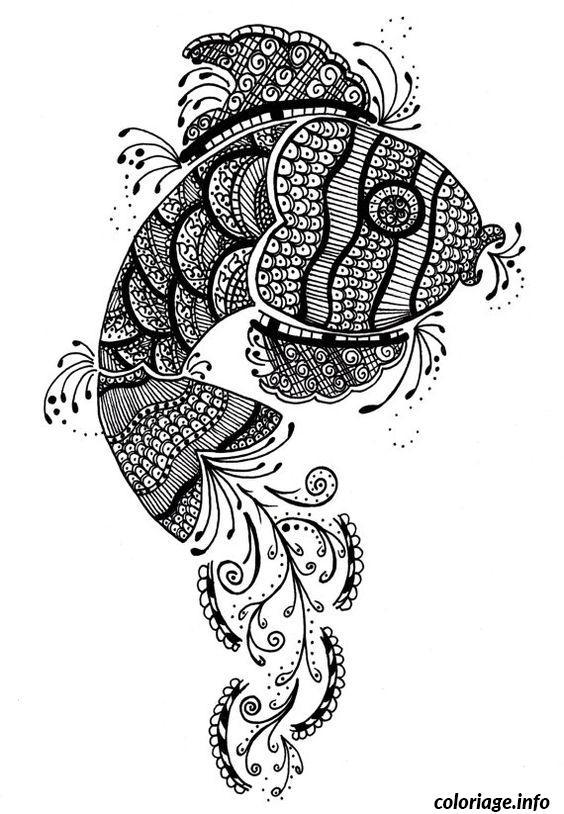 Dessin poisson difficile mandala Coloriage Gratuit à Imprimer
