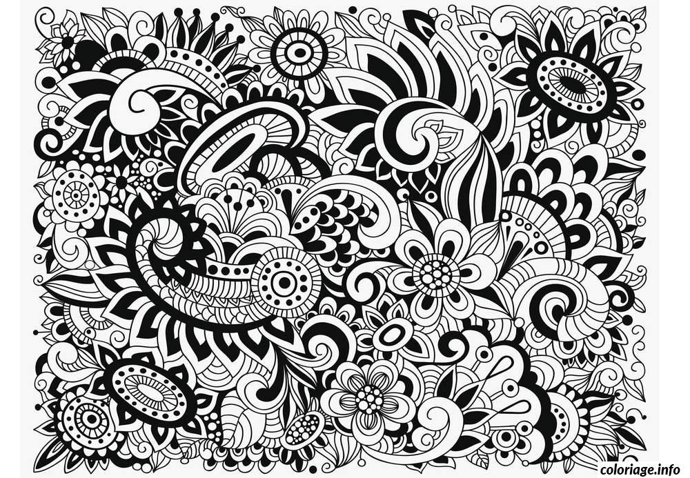 Coloriage Difficile Adulte Fleurs dessin
