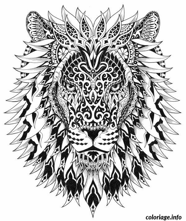 Coloriage Difficile Adulte Lion Dessin