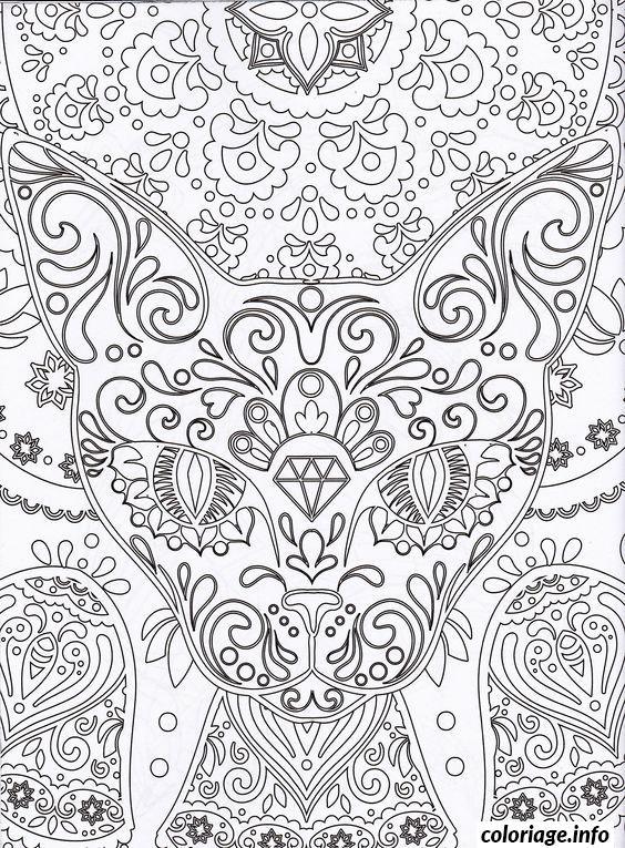 Coloriage A Imprimer Difficile Chat.Coloriage Dessin Chat Mandala Adulte Difficile Jecolorie Com