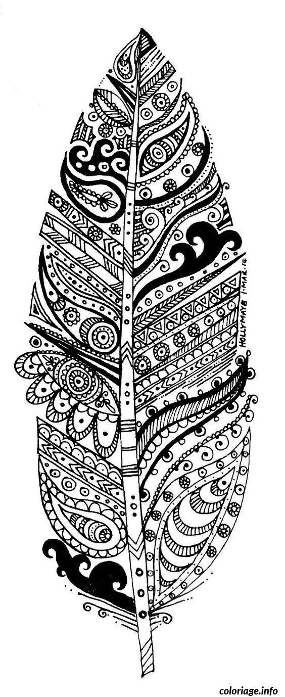 Dessin plume difficile dessin adulte Coloriage Gratuit à Imprimer