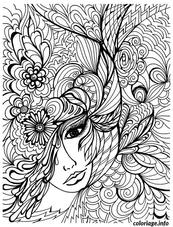 Coloriage Diffile Femme Adulte dessin