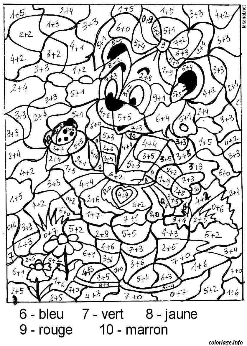 Coloriage magique addition nounours coccinnelle dessin - Image de coloriage ...