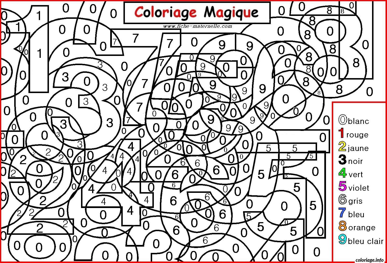 Coloriage magique chiffres maternelle dessin - Dessin avec des chiffres ...