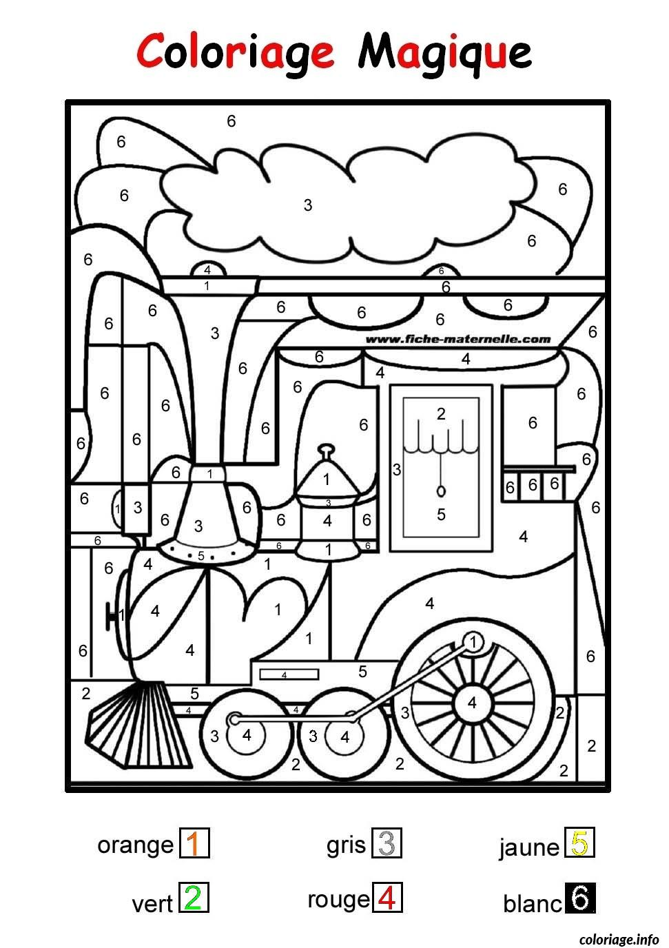 Coloriage Magique Train Facile Maternelle Dessin