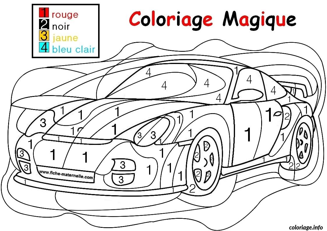 Coloriage magique voiture de course facile simple maternelle dessin - Dessin de voiture simple ...