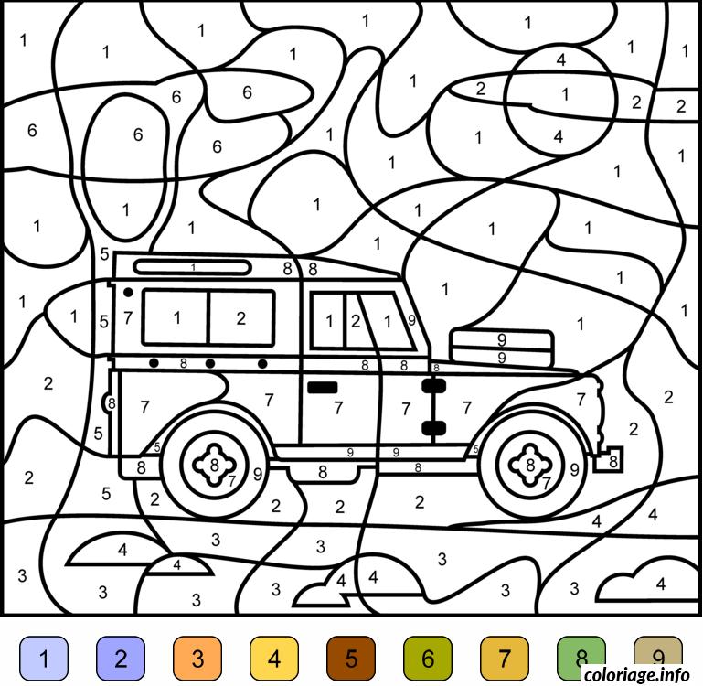 Coloriage magique voiture 4x4 jeep dessin - Voiture a colorier et imprimer ...
