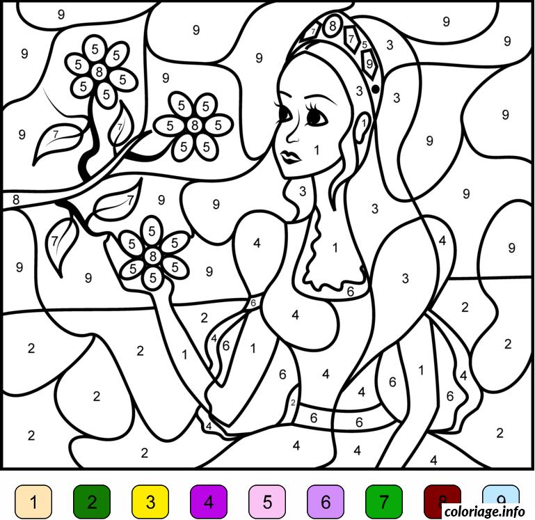 Coloriage Magique Princesse Barbie Avec Fleurs Facile Maternelle