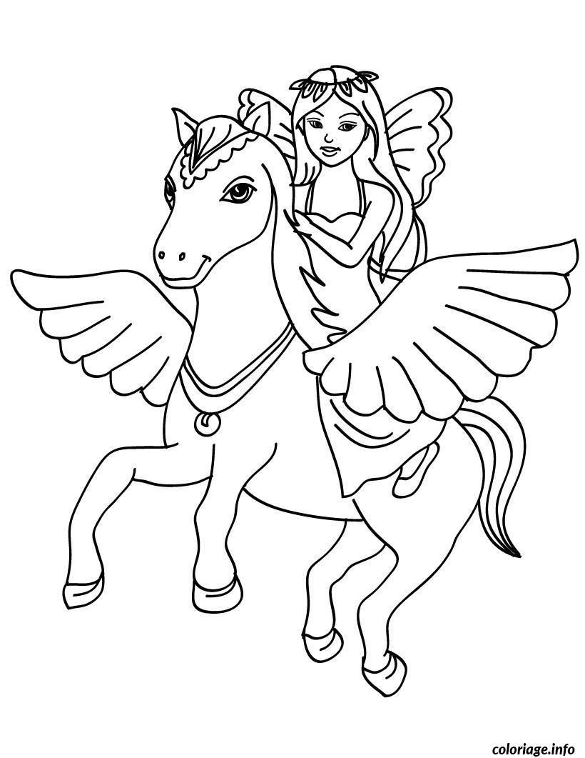 Coloriage Magique Princesse Sur Un Poney Dessin