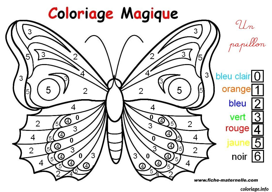 Coloriage magique un papillon facile dessin - Grand dessin a colorier ...