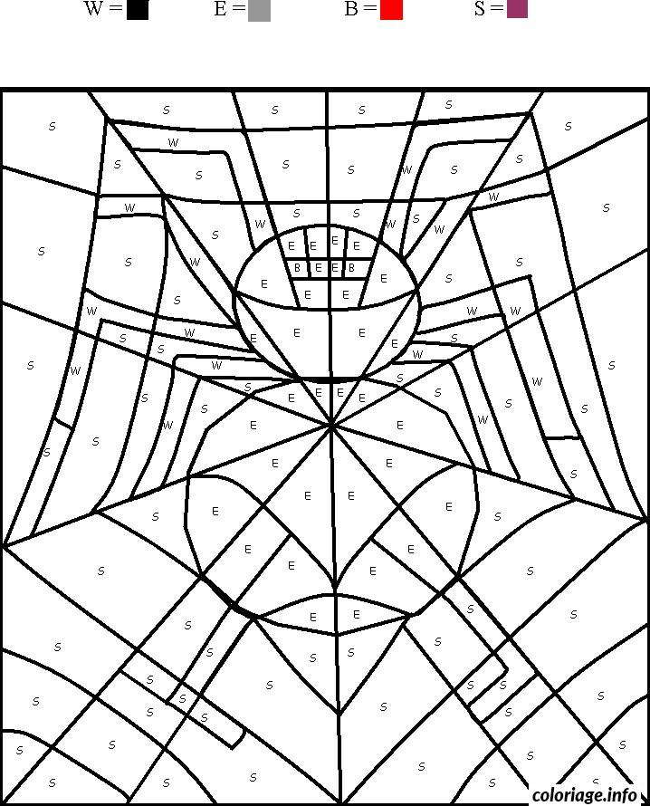 Coloriage magique araignee spider dessin - Araignee dessin ...