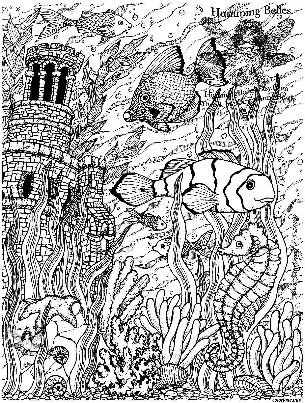 Coloriage poissons difficile 5 dessin - Coloriage art ...