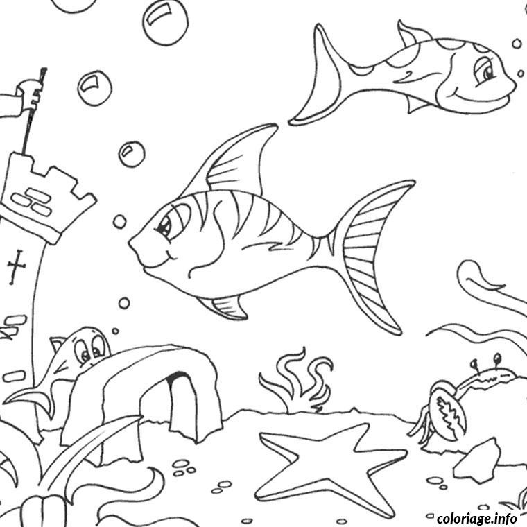 Coloriage mer poisson - Poisson a imprimer gratuitement ...