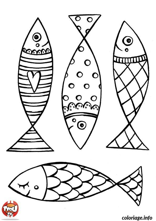 Coloriage quatre poisson avril magnifique dessin - Coloriage avril ...