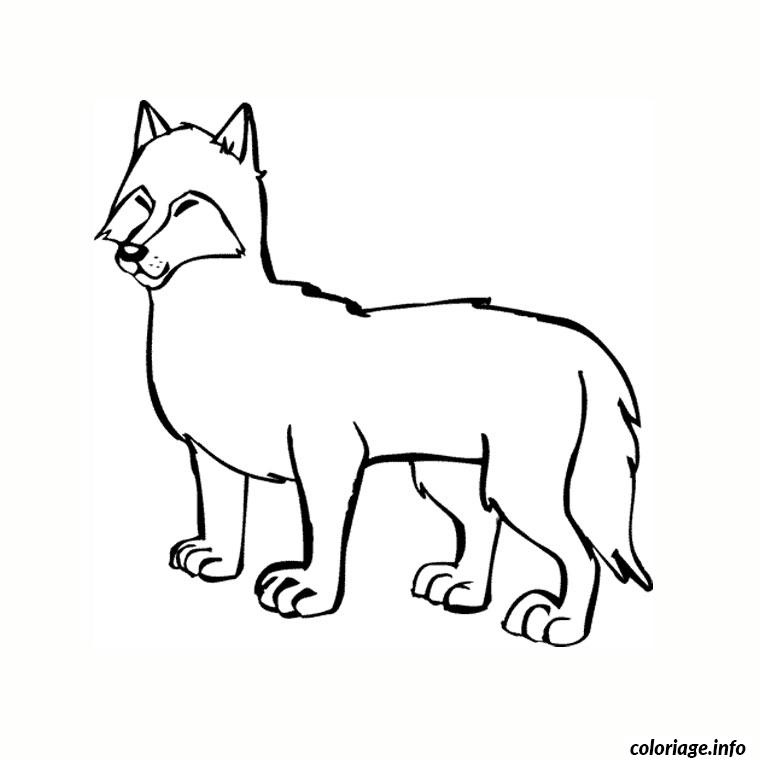 Coloriage loup sentimental dessin - Dessin de loup simple ...