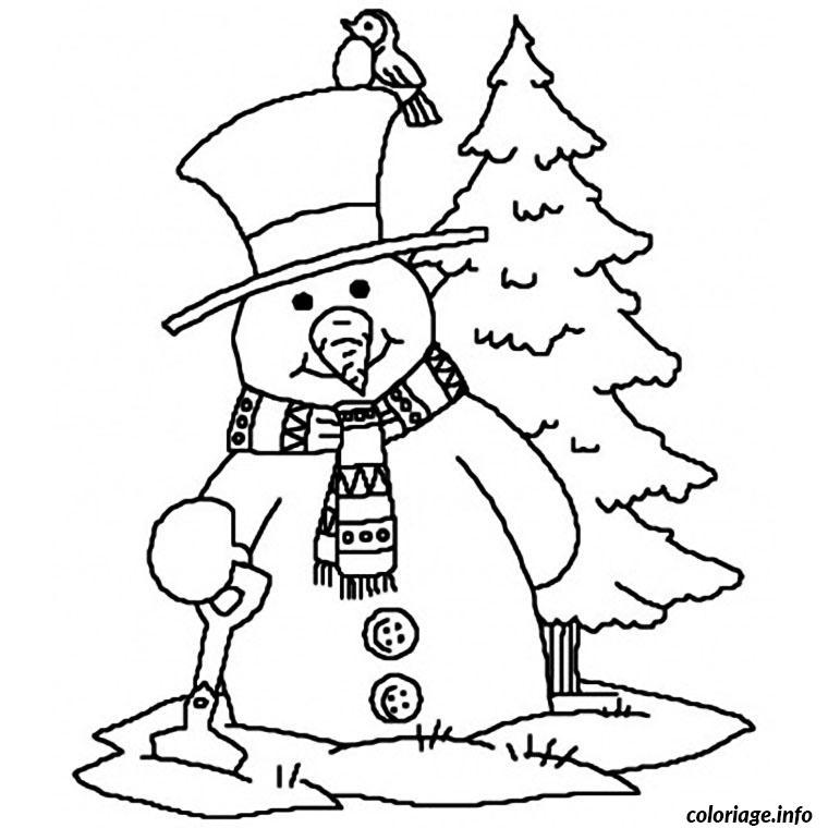 Coloriage bonhomme de neige et oiseau - Dessin de neige ...