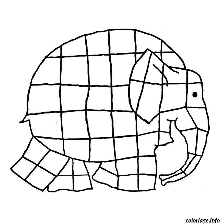 Coloriage Elmer Lelephant A Imprimer.Coloriage Elephant Elmer Dessin