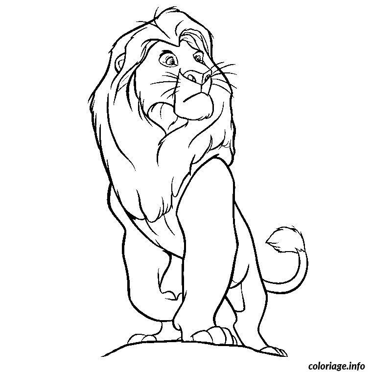 Coloriage roi lion disney regarde de loin - Lion dessin facile ...