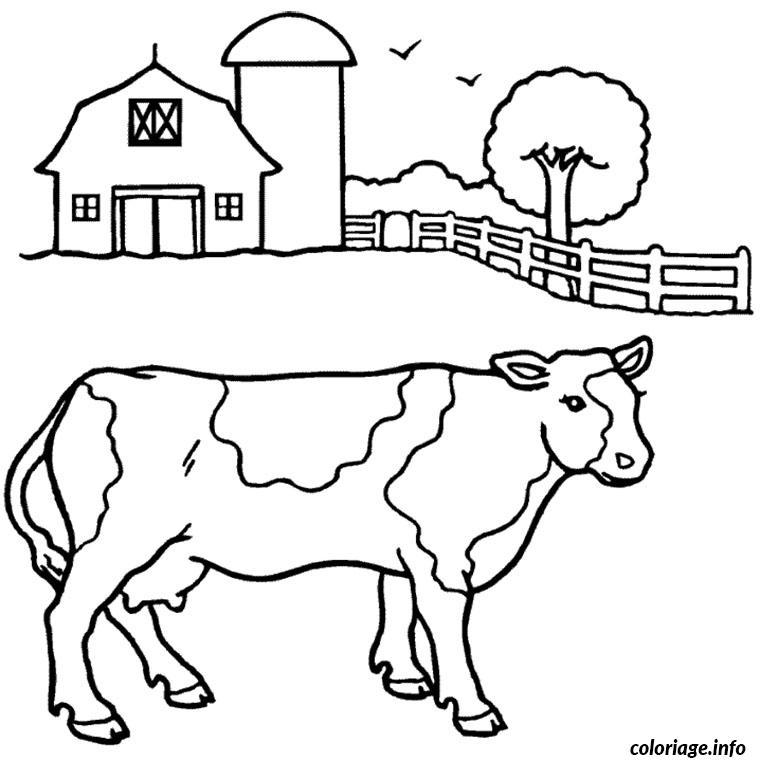 Coloriage vache a la ferme dessin - Coloriage de fermier ...