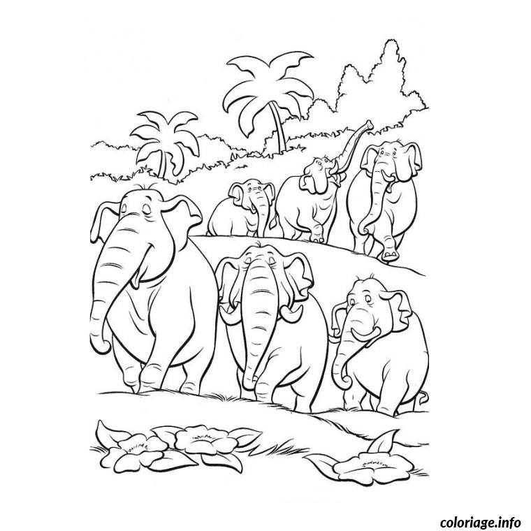 Coloriage jungle et elephants dessin - Dessin de jungle ...