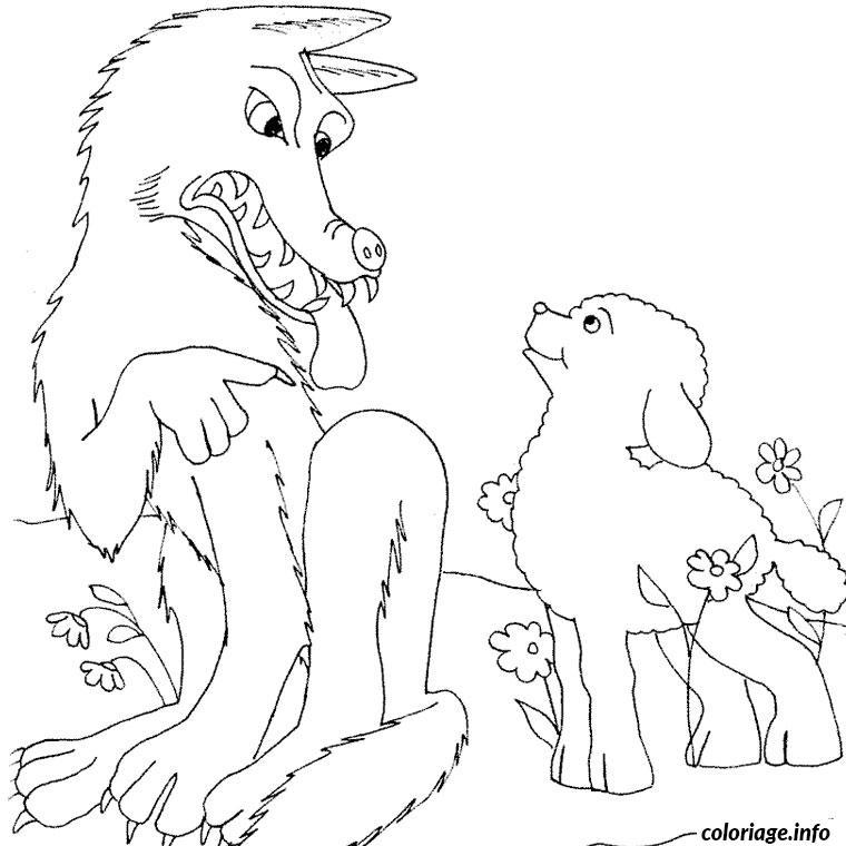 Coloriage loup et agneau - Dessin loup facile ...