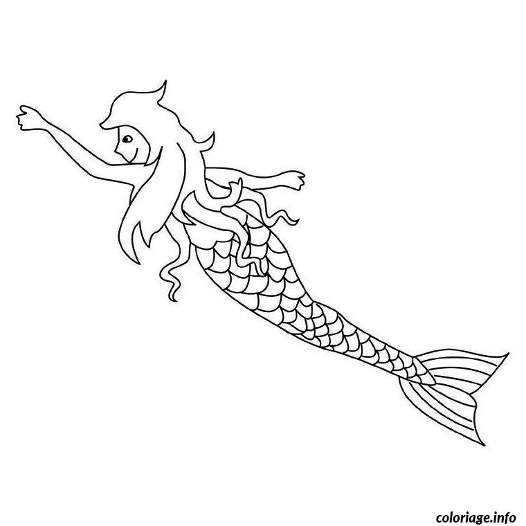 sirene et dauphin coloriage dessin