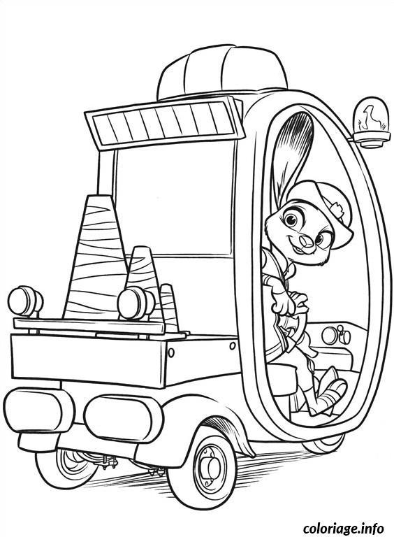 Coloriage zootopie judith en voiture de police dessin - Dessin voiture de police ...