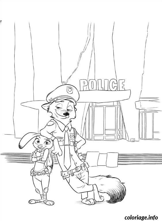 Dessin zootopie une equipe de choc police Coloriage Gratuit à Imprimer
