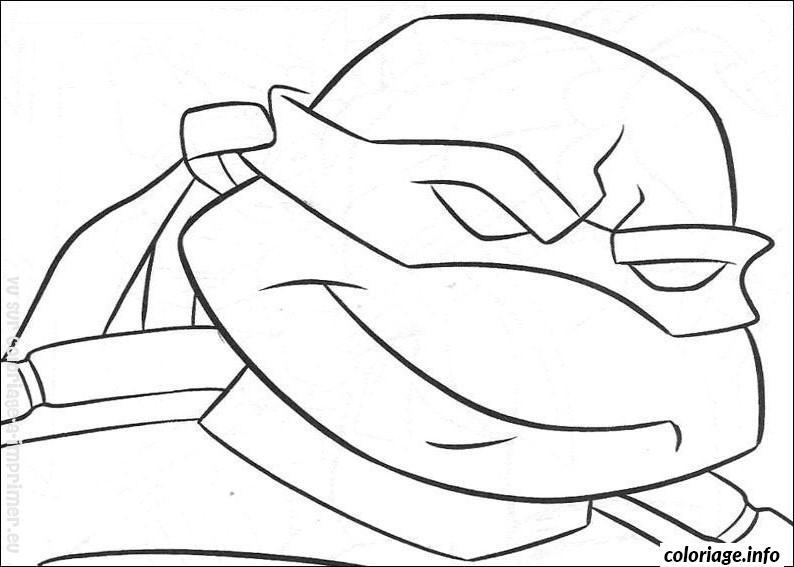 coloriage tortue ninja avec un sourire dessin imprimer - Jeux De Tortue Ninja Gratuit