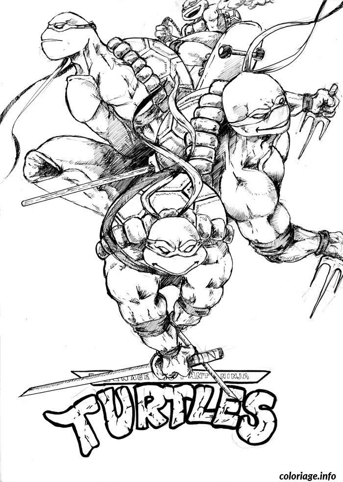 tortue ninja team logo coloriage dessin