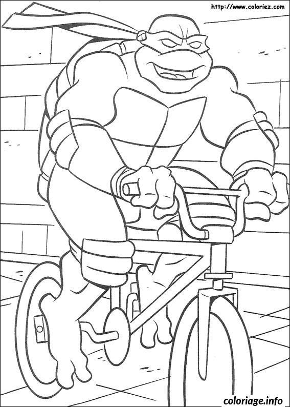 Coloriage tortue ninja en velo - Velo a dessiner ...