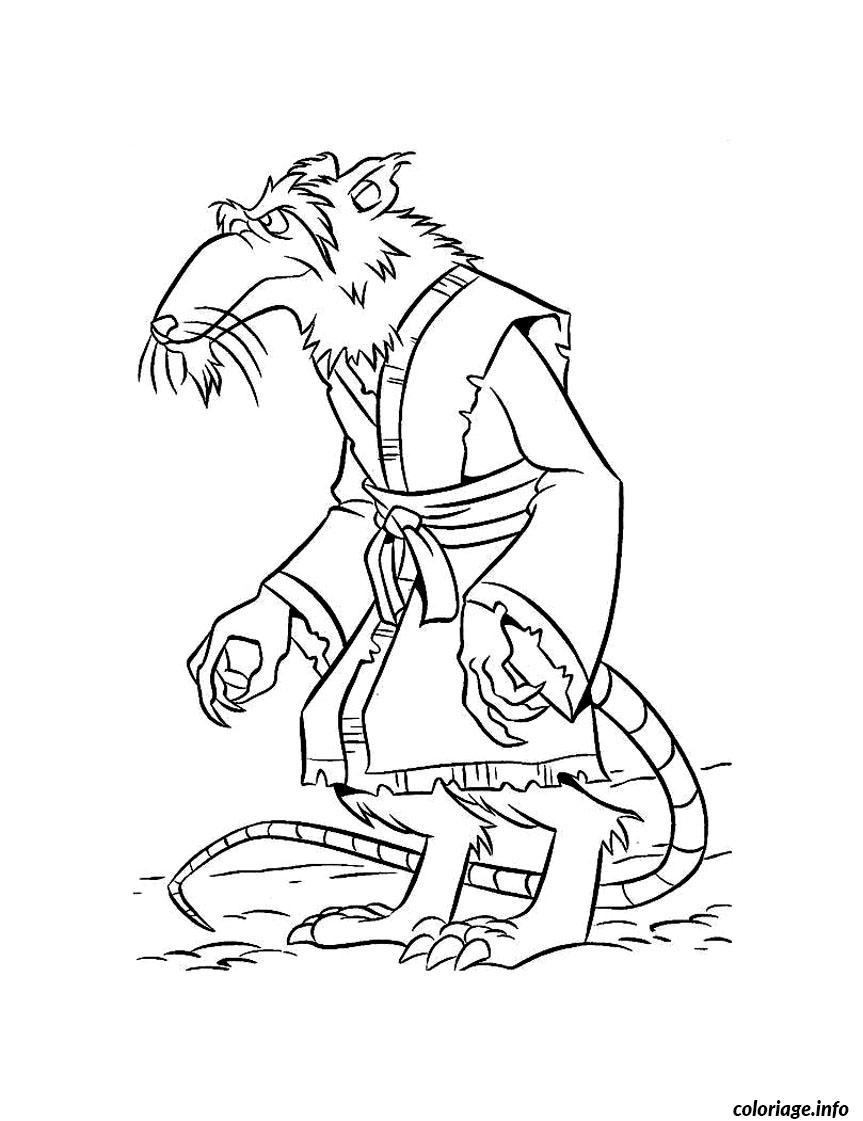 Coloriage tortue ninja 73 - Maitre rat tortue ninja ...