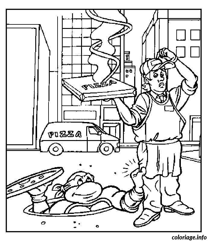 Dessin tortue ninja aime la pizza Coloriage Gratuit à Imprimer