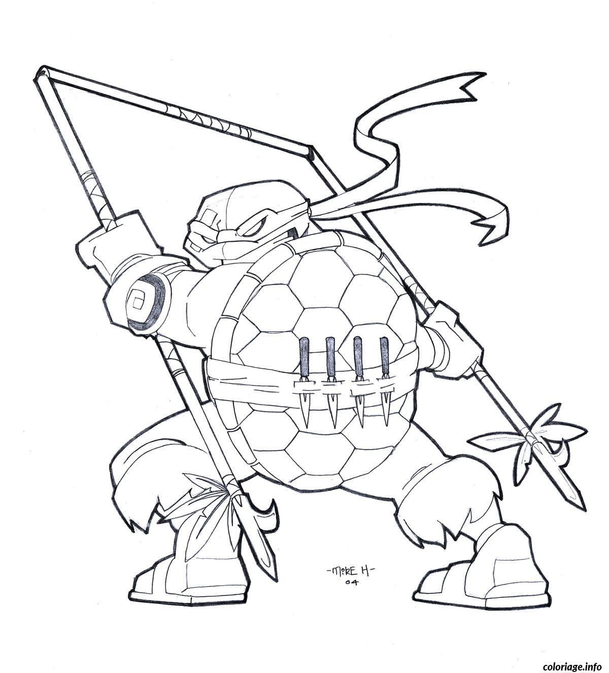 Coloriage tortue ninja nouveau outils de combat - JeColorie.com