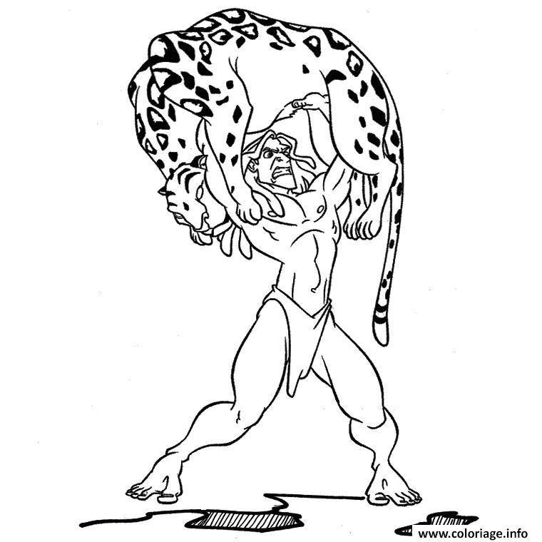 Dessin tarzan est fort tigre Coloriage Gratuit à Imprimer